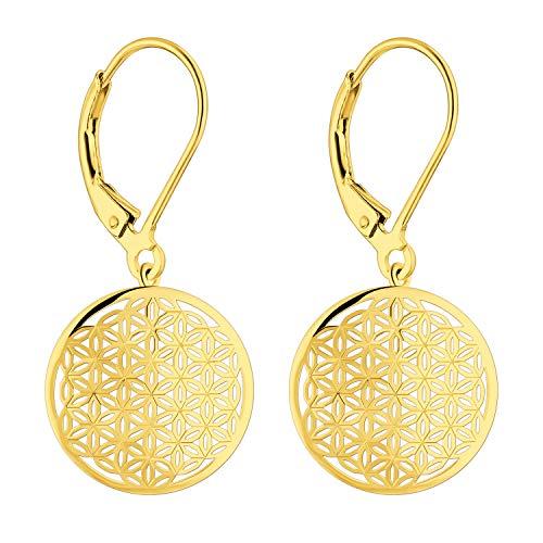JO WISDOM Damen Ohrringe hängende Lebensblume silber 925 Blume des Lebens (Gelbgoldfarbe)