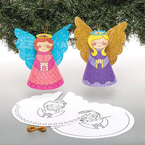 Baker Ross AT125 - Decorazioni a forma di angelo, confezione da 10 pezzi, colore: bianco