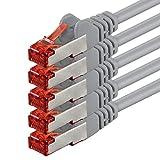 2m - Gris - 5 Piezas - CAT6 Ethernet LAN Cable de Red Set 1000 Mbit/s Patchkabel CAT6 S-FTP Doble blindado PIMF 250MHz halógenos Compatible con CAT5 CAT6a CAT7 CAT8, Patch Panels