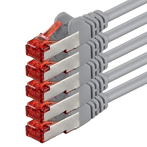 1aTTack 83570 2m CAT6 Netzwerkkabel CAT.6 Patchkabel Ethernetkabel SFTP PIMF 1000 Mbit s 5 Stück grau