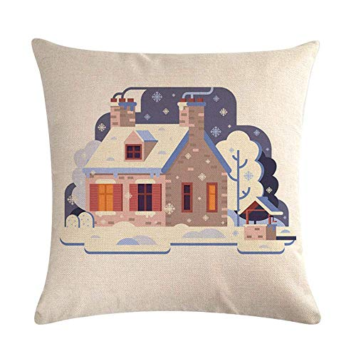 MayBlosom Throw Pillow Covers 18 x 18 Inches Cartoon Red House Winter Polyester Pillowcase Decorative Pillow Sham Sofa Cushion Cases