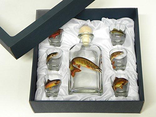 GTK - Geweihe & Trophäen KRUMHOLZ 7-teiliges Schnaps Gläser Set mit Fisch Motive + Karaffe mit HECHT