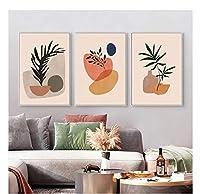 chenjiaxu 抽象植物の葉ポスターミニマリスト北欧スタイルヴィンテージプリント壁アートキャンバス絵画リビングルームの装飾のための写真-40x60cmx3フレームなし