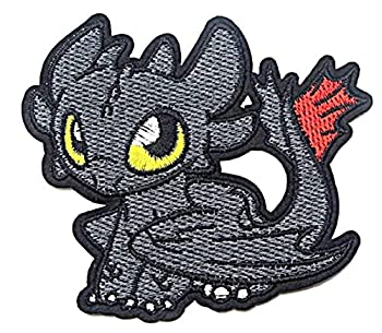 Supersenter How to Train Your Dragon Toothless Decorartive Sew or Iron On Patch - Embroidered Applique Badge for Jackets Bags Clothes and More Black