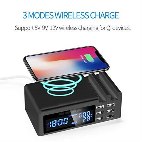 Duyifan Elektrische led-wekker met telefoon, draadloos, snellader, USB-oplader, digitale thermometer, klok, snooze, tafelklok, decoratie