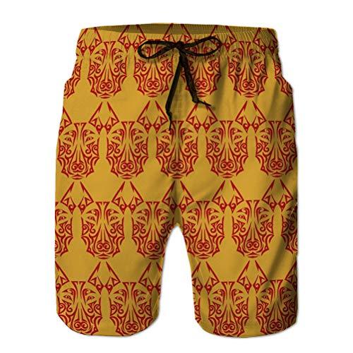 Fashion Beach Shorts Herren Boardshorts Swimtrunks Lässiges nahtloses Muster Dobermann Hundekopf stilisiert Maori Gesicht Symbol Jahr M
