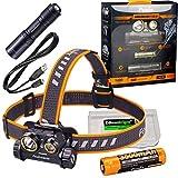 Fenix HM65R 1400 Lumen Dual Beam LED Stirnlampe, hohe Kapazität wiederaufladbare Batterie, E01 V2 Mini Taschenlampe mit EdisonBright Akku Tragetasche Geschenkpaket