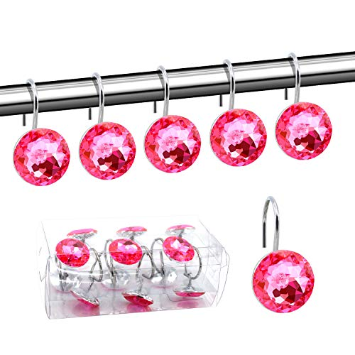 BEAVO Acrylic Fashion Decorative Home Rolling Shower Curtain Hooks Rhinestones Bathroom Bath Baby Room Bedroom Living Room Decor Set of 12 Rings (Pink)