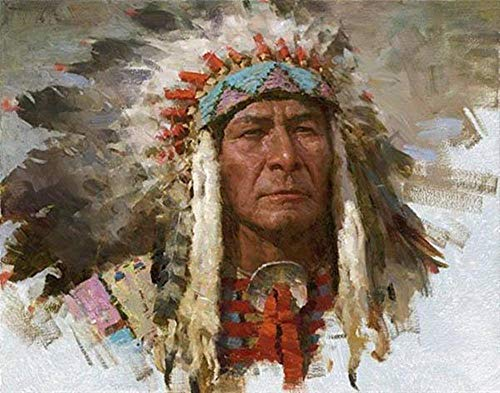 leafgame Adultos Puzzle 1000 Piezas de Madera Jefe Indio Nativo Americano Viejo Líder Hombre Retrato Salvaje Oeste Arte Puzzle Adultos 1000 Piezas de Madera Clásico Personalizado