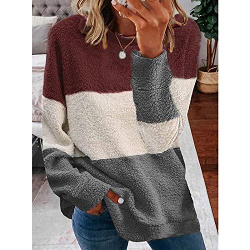 QSDM Camisetas y Blusas para Mujer Sudaderas de Mujer Tops Suéter de Mujer Abrigo de Contraste de Costura de otoño e Invierno para Mujer-Vino Tinto y Gris_XXL