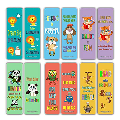 Cute Animal Bookmarks Cards for Kids (60 Pack) - Lion Dog Cat Panda Owl Monkey - Book Reading Inspirational Quotes Gifts - Stocking Stuffers for Young Readers Children Boys Girls