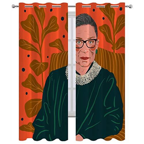 SSKJTC Cortinas para ventana de cocina, elegantes Ruth Bad Ginsberg, sofá con hojas verdes, cortina para ventana interior, 140 x 183 cm