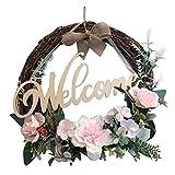 Corona al aire libre Guirnalda de la muestra de la muestra de bienvenida Percha de la puerta de la guirnalda con la decoración del colgante al aire libre del arco para el hogar de la boda de la rota v