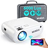 "Proyector WiFi Bluetooth, WiMiUS 6000Lux Proyector Portátil Soporta Full HD 1080P Zoom 75% Mini Proyector LCD WiFi Proyector, 250"" Proyector Cine Casa para iOS/Android/TV Stick/PS4/PC HDMI AV VGA USB"