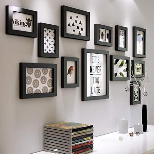 Combinaison de Photo en Bois Massif avec Cadre Mural Simple de Salon dans la décoration Murale de la Chambre Photo Murale Mur (Couleur : Noir)