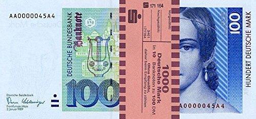 *** 10 x 100 DM, Deutsche Mark, Geldscheine 1991, mit Banderole - Reproduktion ***
