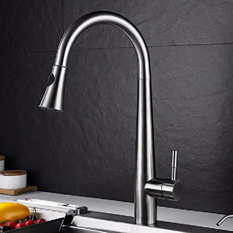 Bijjaladeva Wasserhahn Bad Wasserfall Mischbatterie Waschbecken Waschtisch Armatur Waschbeckenarmatur für BadezimmerEdelstahl Küchenarmatur 304 Pull-Down Kitchen Sink Mixer