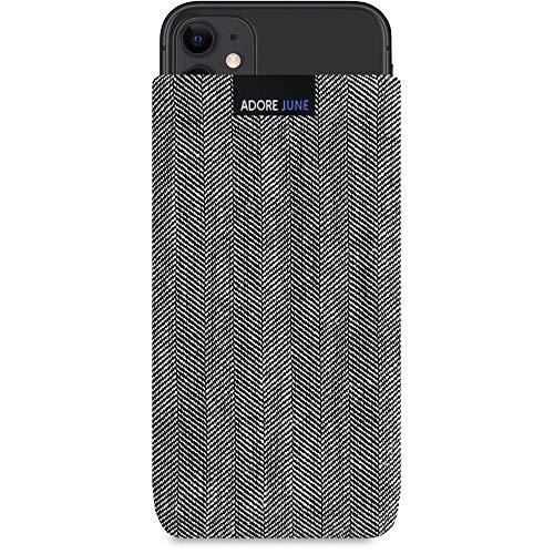 Adore June Business Tasche kompatibel mit Apple iPhone 11 Handytasche aus charakteristischem Fischgrat Stoff - Grau/Schwarz, Schutztasche Zubehör mit Bildschirm Reinigungs-Effekt