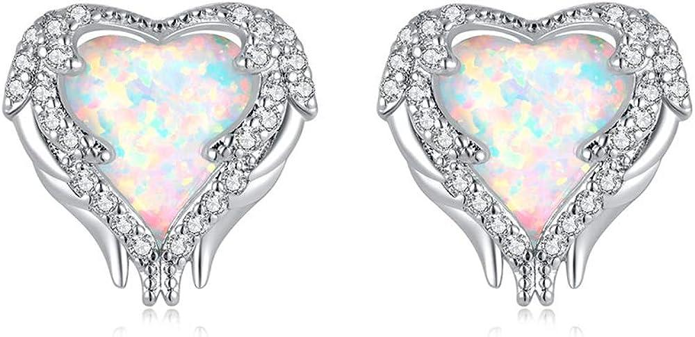 CiNily Angel Wing Earrings for Opal Stud Women-White NEW Spring new work Earri Heart