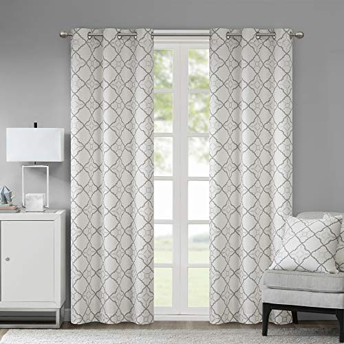 Madison Park Hayes Cotton Duck Printed Grommet Window Curtain Panels Pair Drapes for Bedroom Living Room and Dorm, 42' W x 84' L, Grey