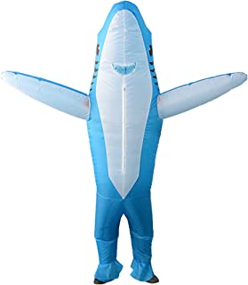 Inflatable Shark Cosplay Costume Halloween Funny Cartoon Animal Blow up Suit Adult