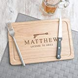 Personalized Wooden Bbq Cutting Board - Birthday Gift for Husband Boyfriend - Grilling Gifts for Men - James Bond Licensed to Grill - Funny Novelty Gift Idea