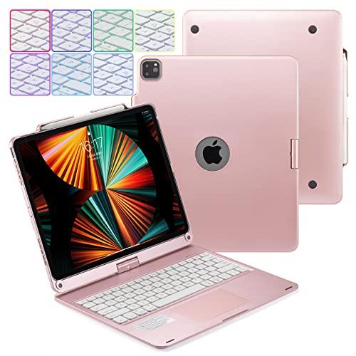 Huafly Funda para Teclado iPad Pro 12.9 7-Color Retroiluminación 360° Girar Teclado inalámbrico Bluetooth con Panel táctil Compatible con iPad Pro 12.9 (Modelo 2021/2020/2018) (Oro Rosa)
