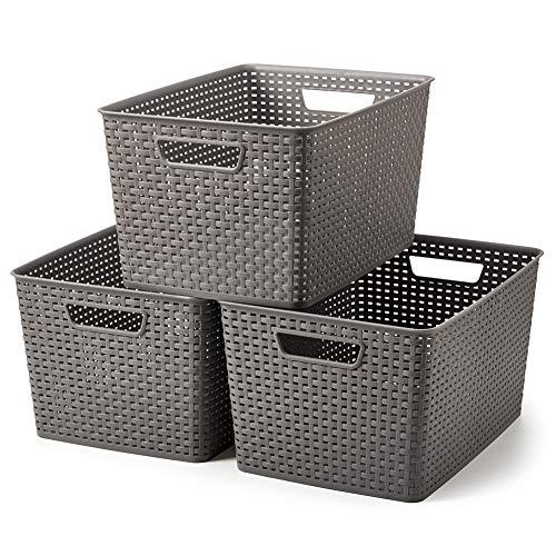 EZOWare 3 pcs Extra Grande Cestas de Almacenaje Multiuso, Cajas Organizadoras de Plástico con Efecto de Mimbre y Asas para Cocina, Baño - Gris