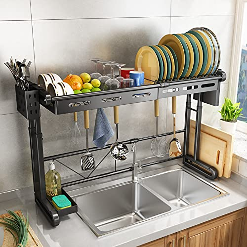 Over The Sink Dish Drying Rack, HERJOY Adjustable Length(24.8'-36.2') Height(17.3'-22.1') Dish Rack Storage Organizer Supplies Shelf Stainless Steel with 6 Utility Hooks for Kitchen Counter, Black