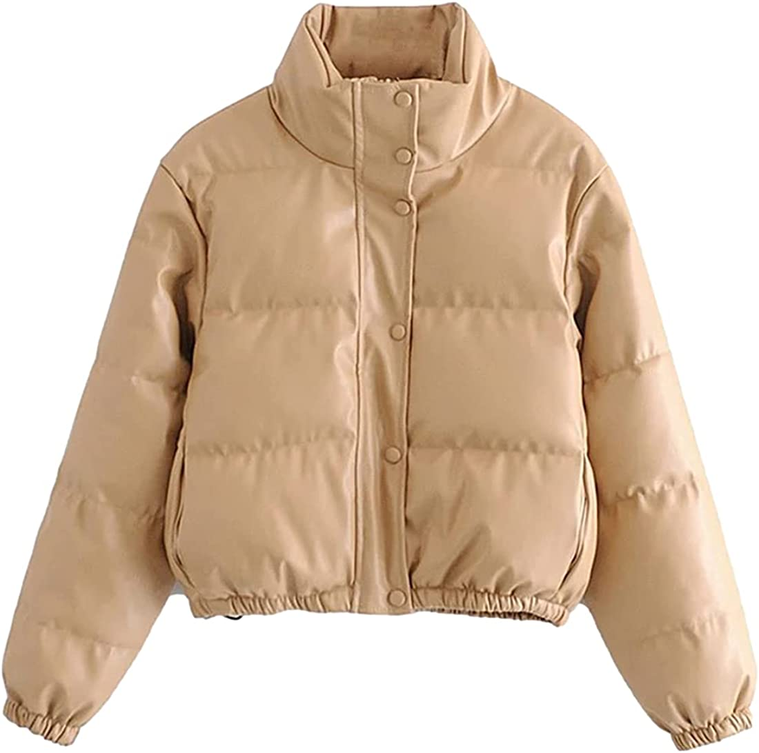 SeekMe Women's Crop PU Leather Puffer Jackets Slim Fit Shiny Quilted Down Winter Coat