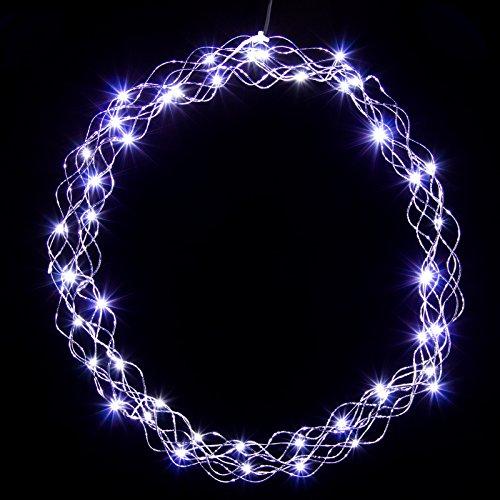 LED Kranz Lichterkranz Adventskranz 50cm kaltweiß oder warmweiße LED`s , Farb-Design:Silberdraht / weisse LEDs