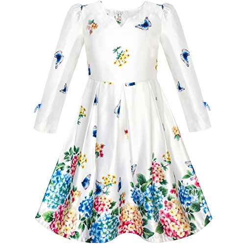 Sunny Fashion Robe Fille Satin Papillon Hortensia Fleur Imprimé 5 Ans