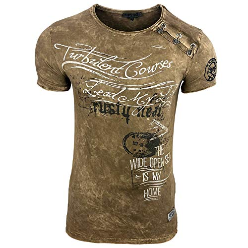 Rusty Neal Herren T-Shirt Slim Fit mit Vintage Used Waschung Washed A1-RN-15194, Größe:2XL, Farbe:Camel