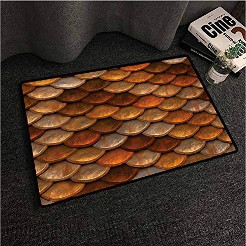 Vintage Cute Doormat Scale Pattern with Medieval Inspirations Half Circles Design Ancient Armor Polyester Fiber Shoes Clean Mat Bronze and Gold W24 x L36 inch