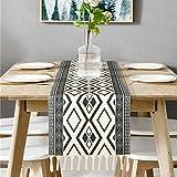 Bateruni Geometrisch Tischläufer, Grau Modern Schwarz Weiß Tischwäsche Matte, Faltenfrei rutschfest Tischband Dekoration für Esszimmer Party Urlaub 35x180cm