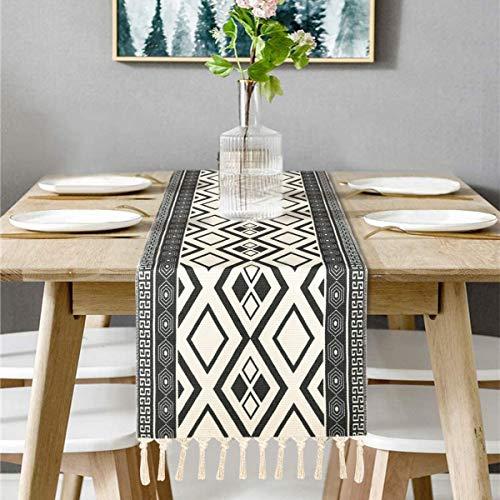 Bateruni Geometrisch Tischläufer, Grau Modern Schwarz Weiß Tischwäsche Matte, Faltenfrei rutschfest Tischband Dekoration für Esszimmer Party Urlaub 35 * 180cm