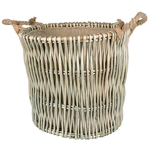 Hochwertiger Korb aus Weide/Kaminholzkorb für Ihr Feuerholz Wäschekorb oder Dekoration Natur 42 x 42 x 38 cm