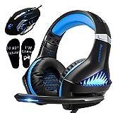 Cuffie da gioco e mouse RGB, Pro Gaming Headset per Xbox One, PS4, PC, computer portatile con microfono, cuffie sovrauricolari LED, mouse da gioco ergonomico USB 4000DPI