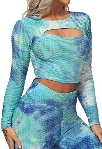 FITTOO Tops de Yoga Camiseta Deportivo para Correr Gimnasio para Mujer #4 Top Azul & Blanco M