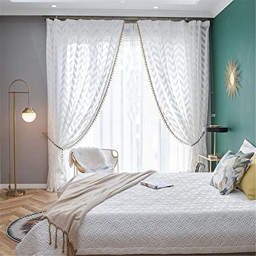 FACWAWF Nordic Geometrische Windfensterschirm Vorhänge Weiß Wellenmuster Vorhänge Volltonfarbe Balkon Schlafzimmer Wohnzimmer Weißer Gaze Wohnzimmer Vorhänge Mit Quasten 2x138x106in(350x270cm) WxH