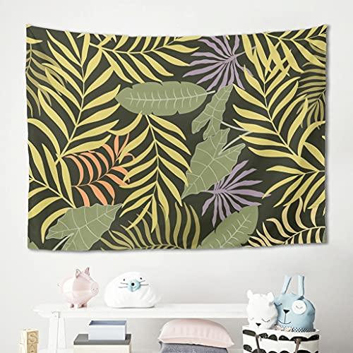 Gamoii Planta tropical de palmera, hojas de plátano, para colgar en la pared, para picnic, playa, meditación, yoga, colchoneta multicolor, decoración de pared, blanco, 230 x 150 cm