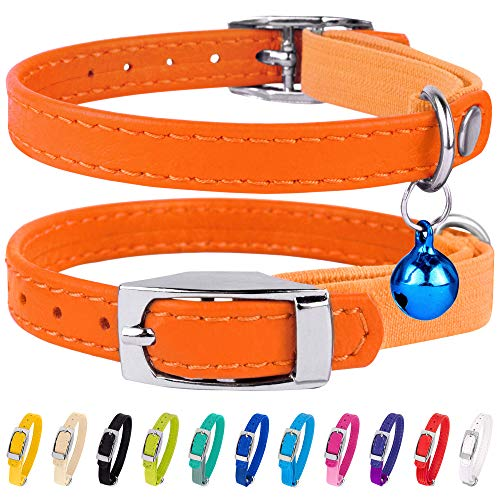 """CollarDirect Leather Cat Collar, Cat Safety Collar with Elastic Strap, Kitten Collar for Cat with Bell Black Blue Red Orange Lime Green (Neck Fit 9""""-11"""", Orange)"""