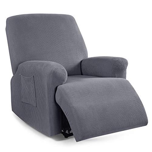TAOCOCO - Funda para sillón reclinable de 4 piezas, funda elástica para sofá reclinable de 1 plaza, protector de muebles suave con fundas elásticas para silla con patrón jacquard (gris)
