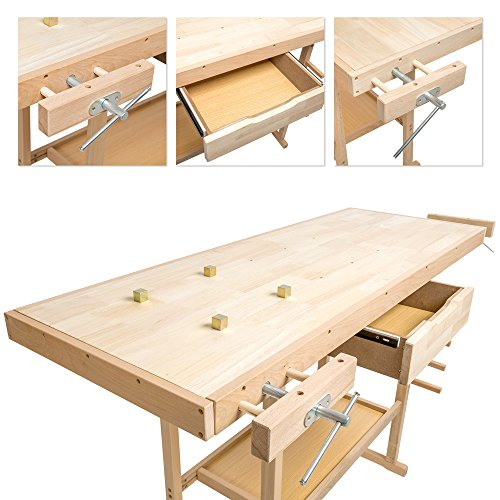 TecTake Workbench 117 x 47,5 x 83 cm Wood Timber Workshop Wooden Work Working Bench Table by TecTake - 5