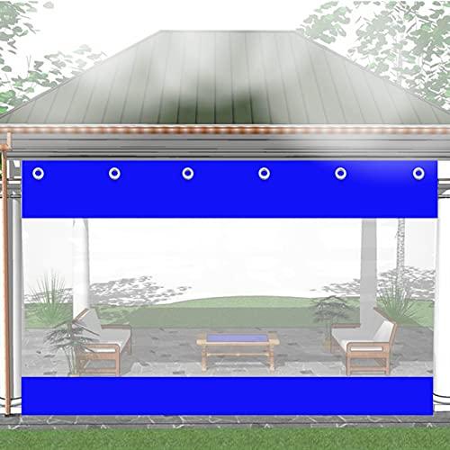 KUAIE Lonas Transparentes PVC Cortina Partición con Ojal Lona Plástico Transparente, for Pérgola, Porche, Personalizable (Color : Clear Blue, Size : 2x3m)