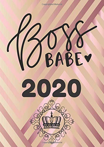 Boss Babe 2020: Kalender Geschenk für Frauen, Wochenplaner mit Jahresübersicht, Ziele setzen, Termine im Blick, Urlaube planen, Erfolg im Business, rosegold Cover