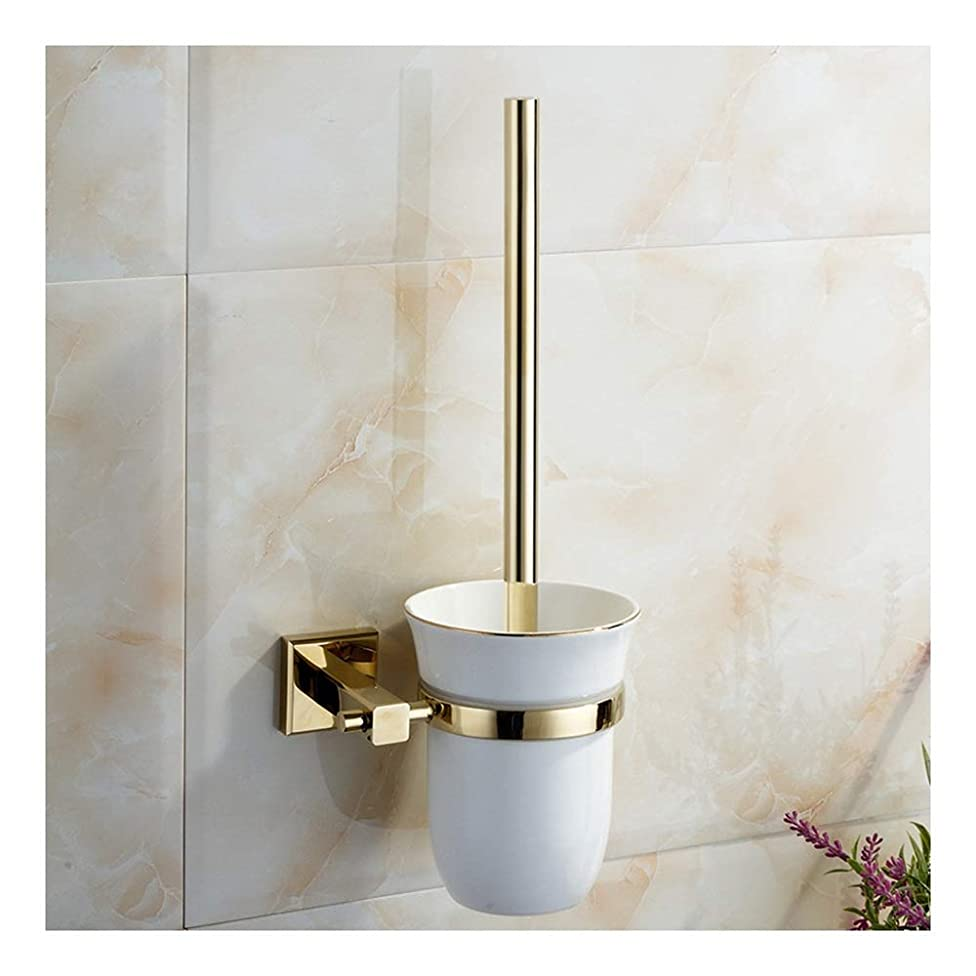 JDGK Toilet Brush All Copper Enamel Gold Simple Personality Toilet Brush Set Bathroom Pendant Toilet Brush 6539