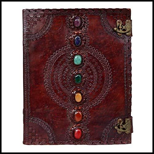 ALASKA EXPORTS - Diario de cuero con piedra semipreciosa y cierre de hebilla de cuero regalo para él (1) (10 x 13 pulgadas)