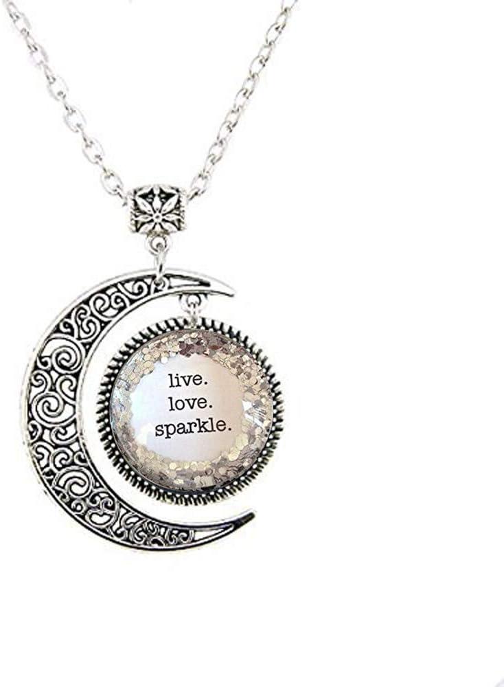 Live. Love. Sparkle. Silver Glitter Quote trend rank Dance Manufacturer OFFicial shop Necklace Recita