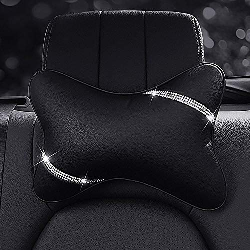 Uphily Car Headrest Support Neck Pillow with Bling Bling Diamonds,Auto Head Relax Travel Pad Cushion,Black